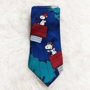 Peanuts Accessories - Peanuts Snoopy Red Barron Blue Red Tie Vintage
